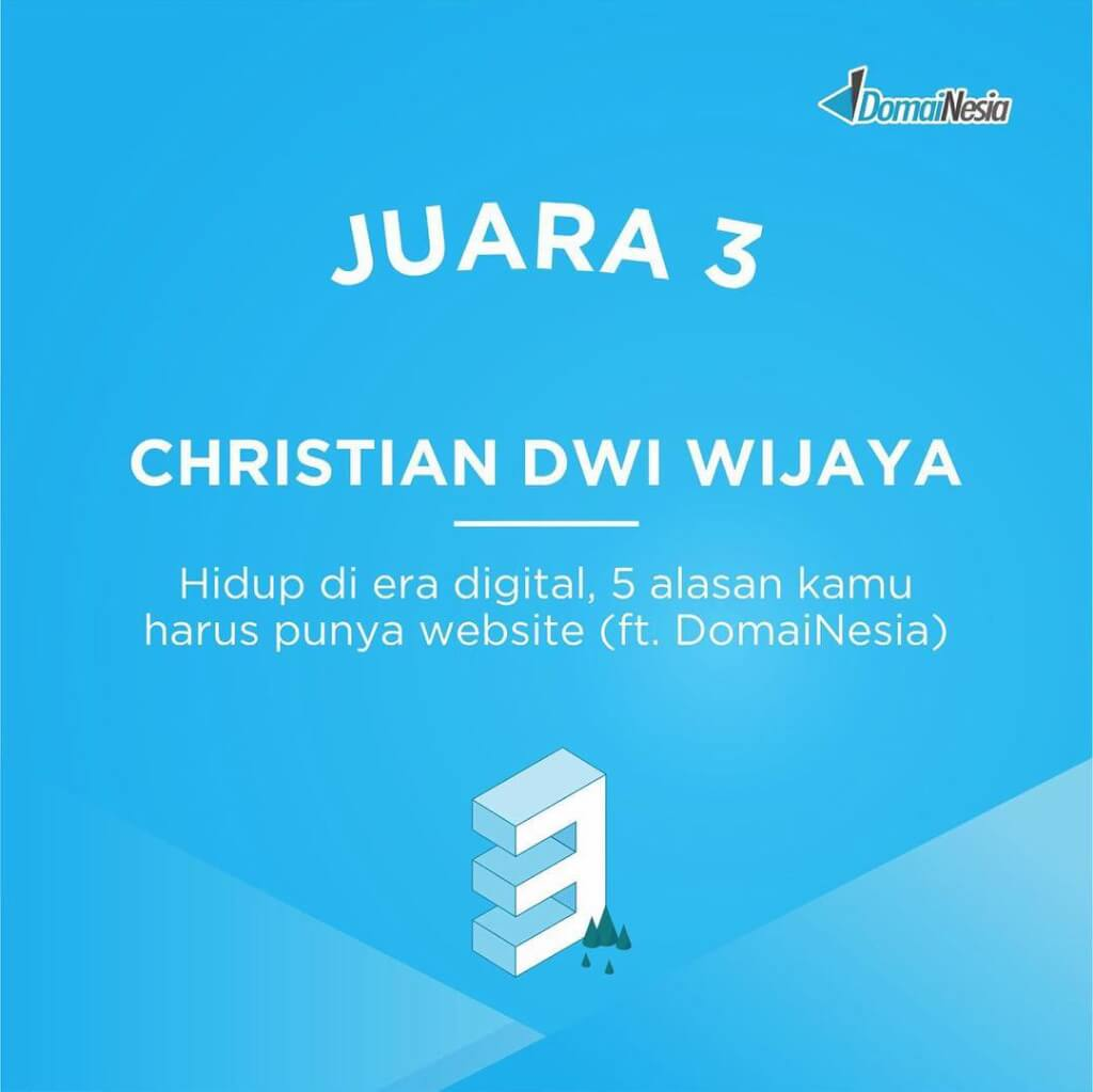 3rd Winner Domainesia Blog Competition